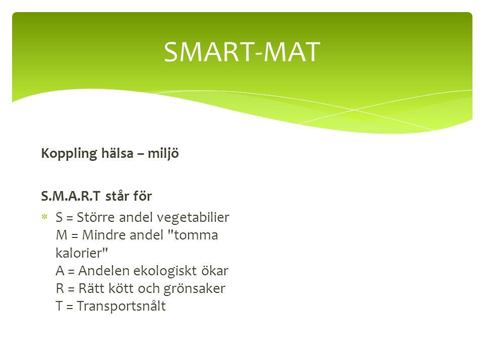 SMART-MAT Koppling hälsa – miljö S.M.A.R.T står för  S = Större andel vegetabilier M = Mindre andel