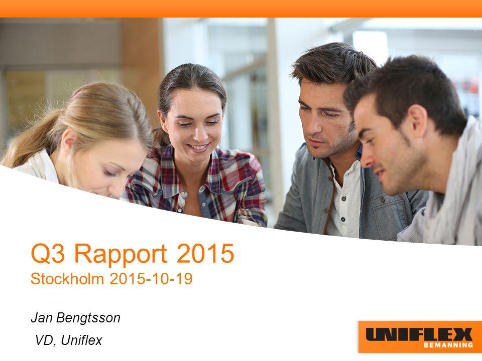 Q3 Rapport 2015 Stockholm 2015-10-19 Jan Bengtsson VD, Uniflex