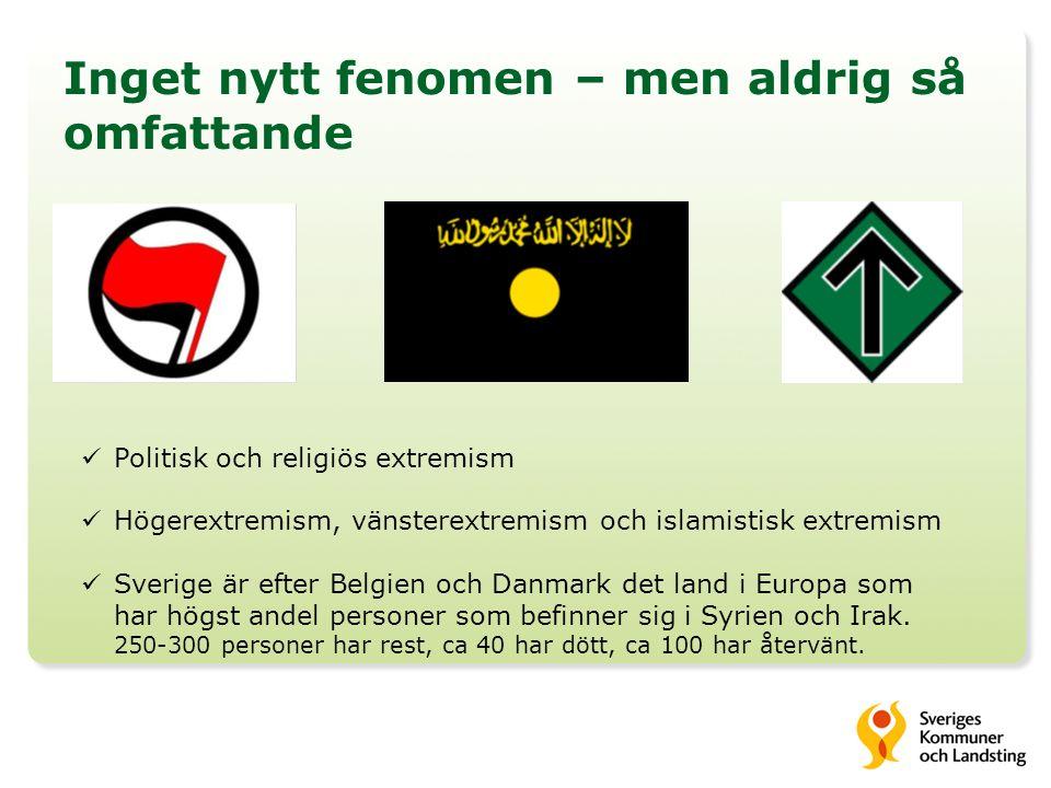 Inget nytt fenomen – men aldrig så omfattande Politisk och religiös extremism Högerextremism, vänsterextremism och islamistisk extremism Sverige är ef
