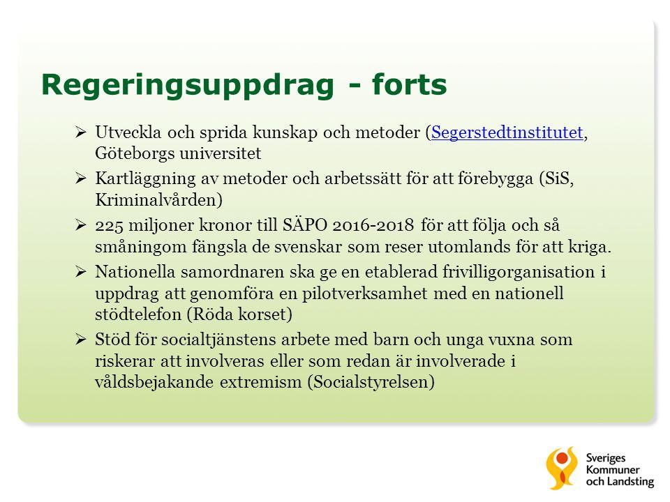 Regeringsuppdrag - forts  Utveckla och sprida kunskap och metoder (Segerstedtinstitutet, Göteborgs universitetSegerstedtinstitutet  Kartläggning av