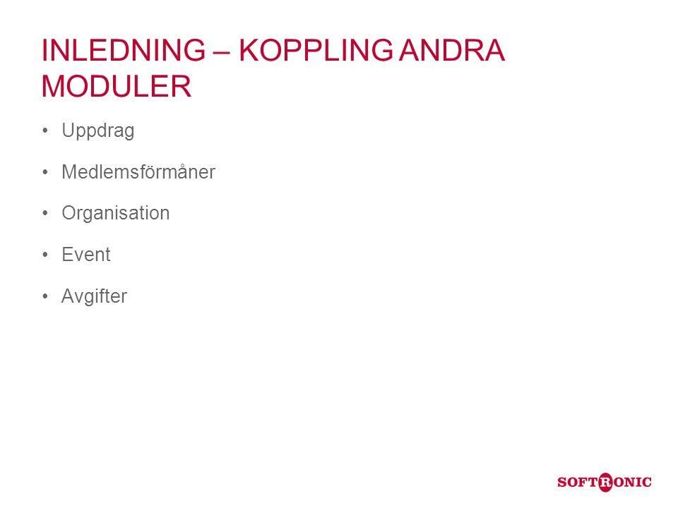 INLEDNING – KOPPLING ANDRA MODULER Uppdrag Medlemsförmåner Organisation Event Avgifter