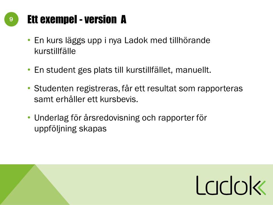 9 Ett exempel - version A En kurs läggs upp i nya Ladok med tillhörande kurstillfälle En student ges plats till kurstillfället, manuellt. Studenten re