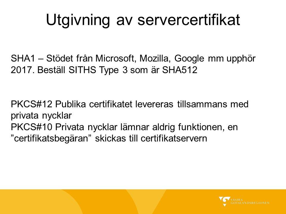 SHA1 – Stödet från Microsoft, Mozilla, Google mm upphör 2017.