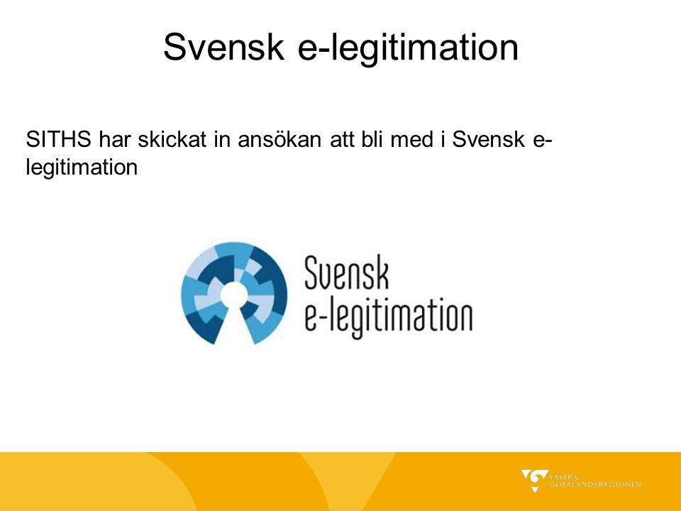 SITHS har skickat in ansökan att bli med i Svensk e- legitimation Svensk e-legitimation