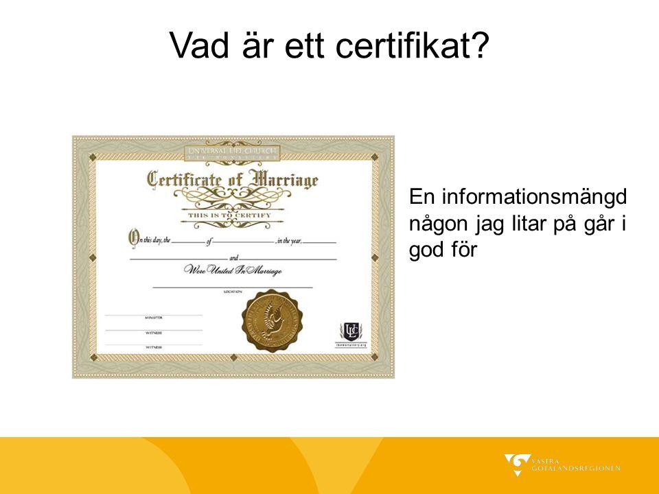 Vad är ett certifikat En informationsmängd någon jag litar på går i god för