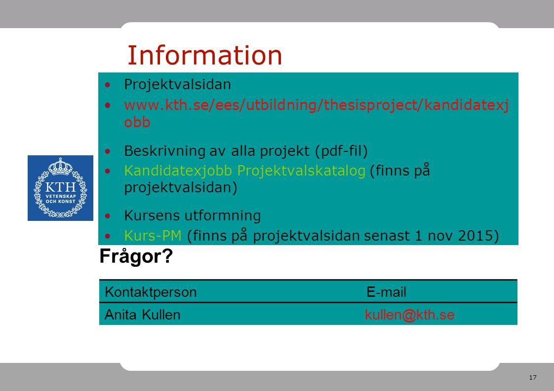 17 Projektvalsidan www.kth.se/ees/utbildning/thesisproject/kandidatexj obb Beskrivning av alla projekt (pdf-fil) Kandidatexjobb Projektvalskatalog (finns på projektvalsidan) Kursens utformning Kurs-PM (finns på projektvalsidan senast 1 nov 2015) Information Frågor.