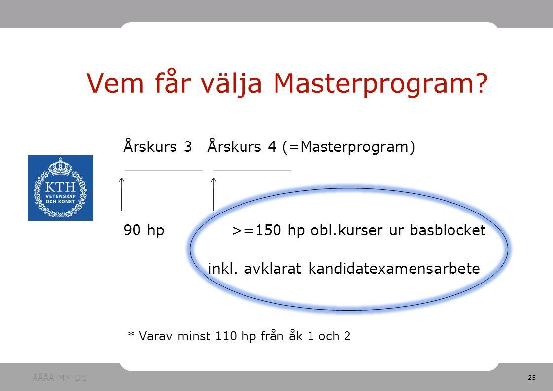 25 Årskurs 3 Årskurs 4 (=Masterprogram) 90 hp>=150 hp obl.kurser ur basblocket inkl.
