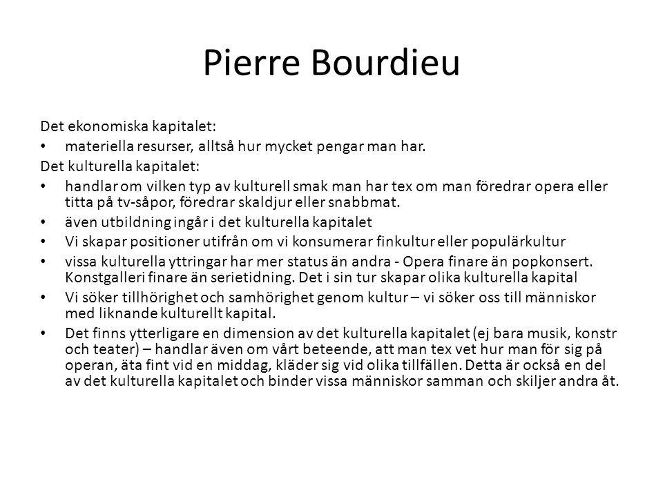 Pierre Bourdieu Det sociala kapitalet: handlar om våra relationer och sociala nätverk - människor vi känner och är släkt med.