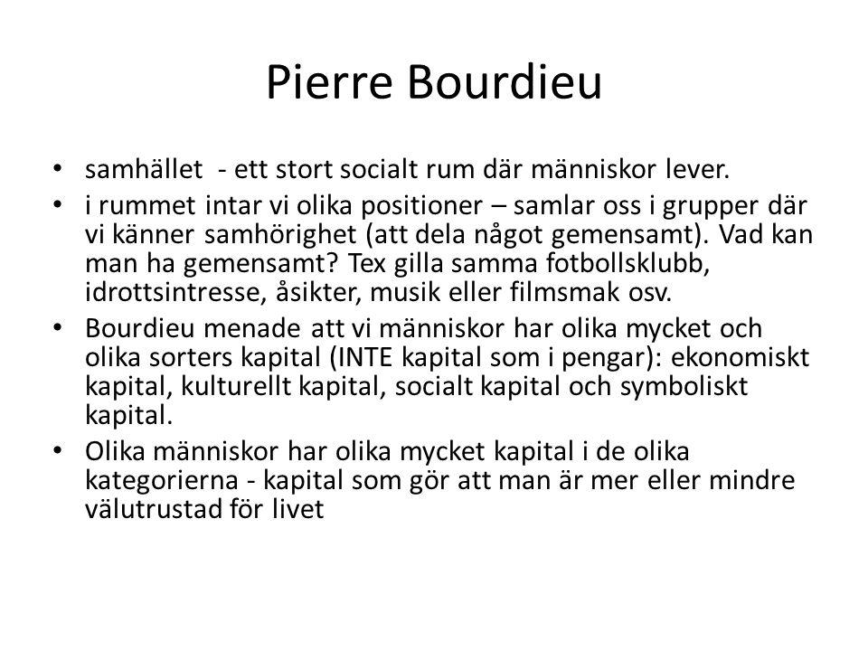 Pierre Bourdieu Det ekonomiska kapitalet: materiella resurser, alltså hur mycket pengar man har.