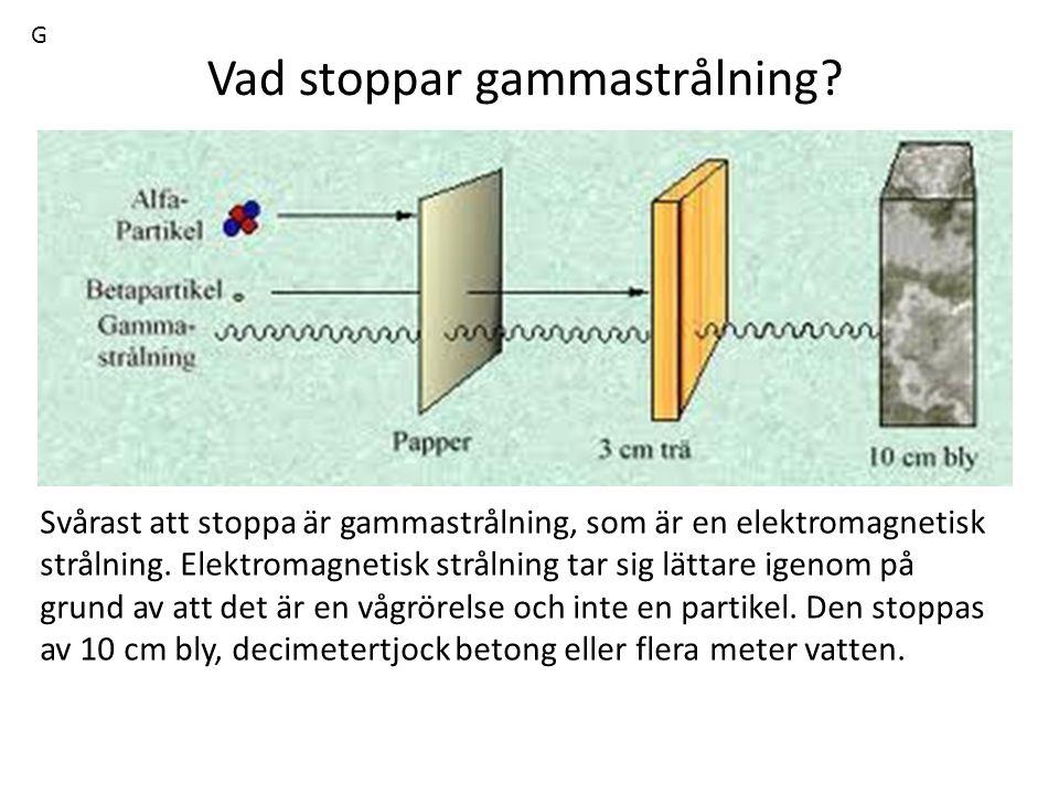 Vad stoppar gammastrålning? Svårast att stoppa är gammastrålning, som är en elektromagnetisk strålning. Elektromagnetisk strålning tar sig lättare ige