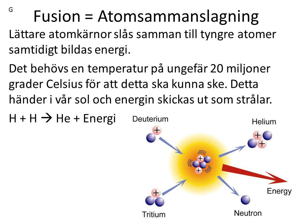 Fusion = Atomsammanslagning Lättare atomkärnor slås samman till tyngre atomer samtidigt bildas energi. Det behövs en temperatur på ungefär 20 miljoner