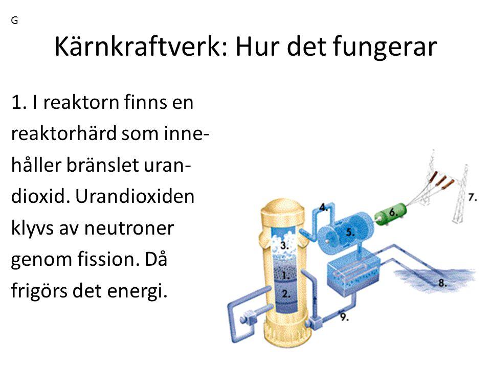 Kärnkraftverk: Hur det fungerar 1. I reaktorn finns en reaktorhärd som inne- håller bränslet uran- dioxid. Urandioxiden klyvs av neutroner genom fissi