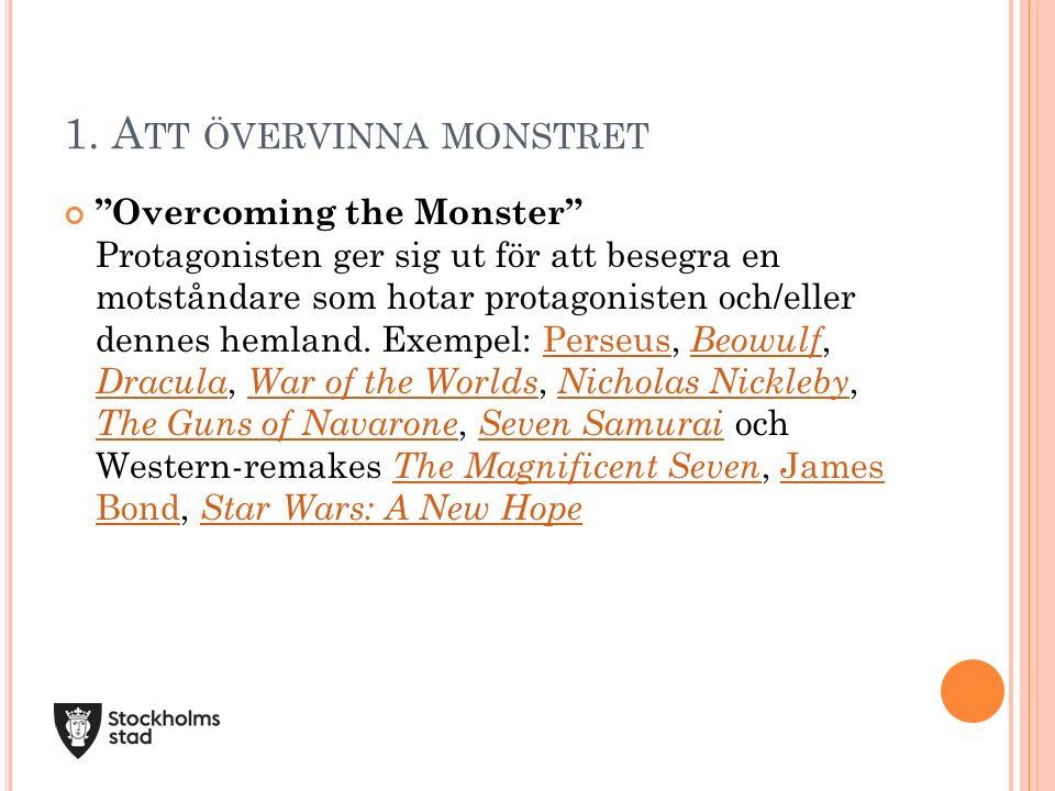 """1. A TT ÖVERVINNA MONSTRET """"Overcoming the Monster"""" Protagonisten ger sig ut för att besegra en motståndare som hotar protagonisten och/eller dennes h"""