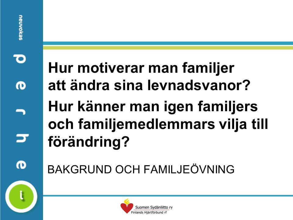 BAKGRUND OCH FAMILJEÖVNING Hur motiverar man familjer att ändra sina levnadsvanor.