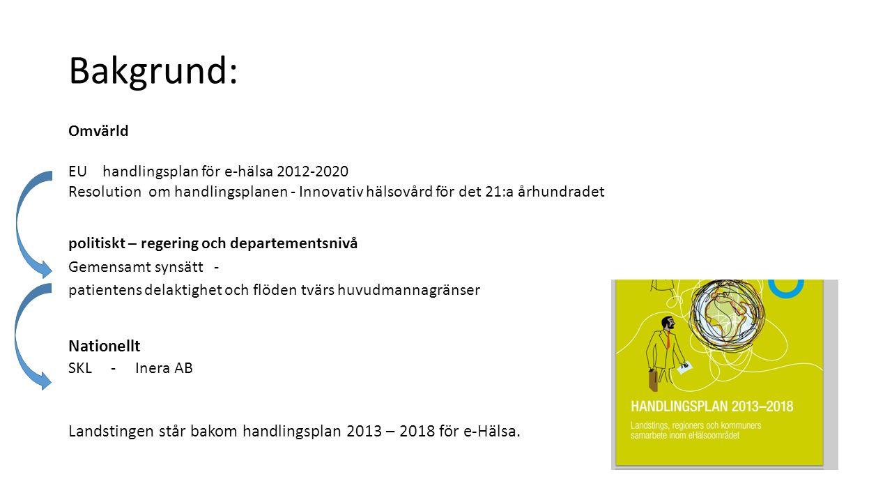 Bakgrund: Nationellt Landstingen står bakom handlingsplan 2013 – 2018 för e-Hälsa.