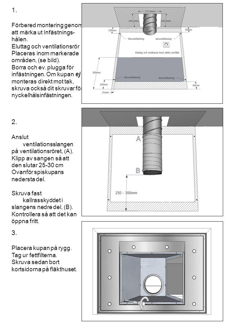 1. Förbered montering genom att märka ut Infästnings- hålen. Eluttag och ventilationsrör Placeras inom markerade områden, (se bild). Borra och ev. plu
