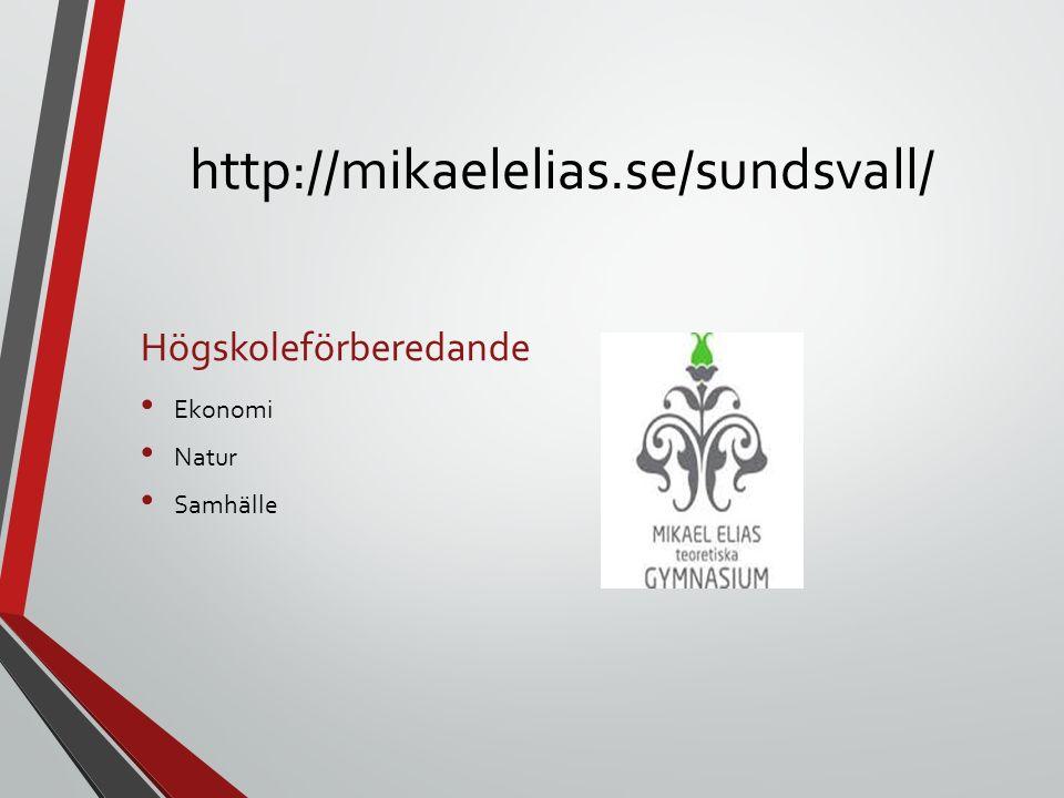 http://mikaelelias.se/sundsvall/ Högskoleförberedande Ekonomi Natur Samhälle