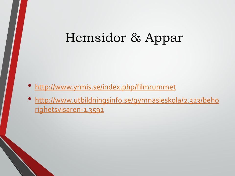 Hemsidor & Appar http://www.yrmis.se/index.php/filmrummet http://www.utbildningsinfo.se/gymnasieskola/2.323/beho righetsvisaren-1.3591 http://www.utbildningsinfo.se/gymnasieskola/2.323/beho righetsvisaren-1.3591