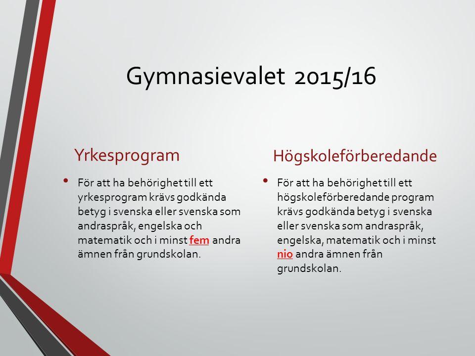 Gymnasievalet 2015/16 Yrkesprogram För att ha behörighet till ett yrkesprogram krävs godkända betyg i svenska eller svenska som andraspråk, engelska och matematik och i minst fem andra ämnen från grundskolan.