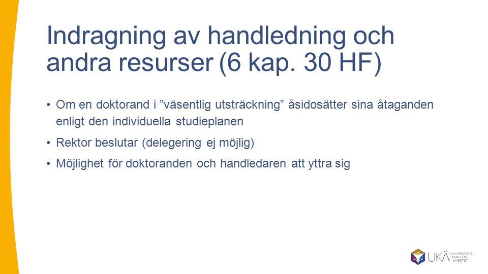 """Indragning av handledning och andra resurser (6 kap. 30 HF) Om en doktorand i """"väsentlig utsträckning"""" åsidosätter sina åtaganden enligt den individue"""