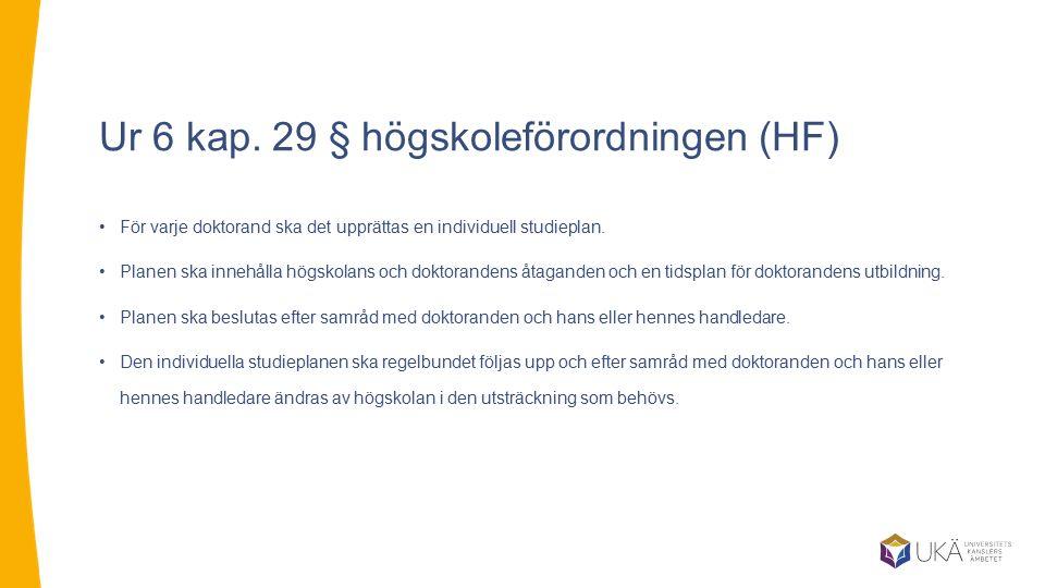 Ur 6 kap. 29 § högskoleförordningen (HF) För varje doktorand ska det upprättas en individuell studieplan. Planen ska innehålla högskolans och doktoran