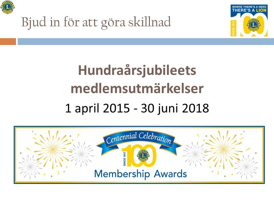 Bjud in för att göra skillnad Hundraårsjubileets medlemsutmärkelser 1 april 2015 - 30 juni 2018
