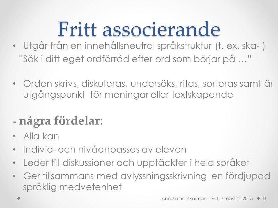 """Fritt associerande Utgår från en innehållsneutral språkstruktur (t. ex. ska- ) """"Sök i ditt eget ordförråd efter ord som börjar på …"""" Orden skrivs, dis"""