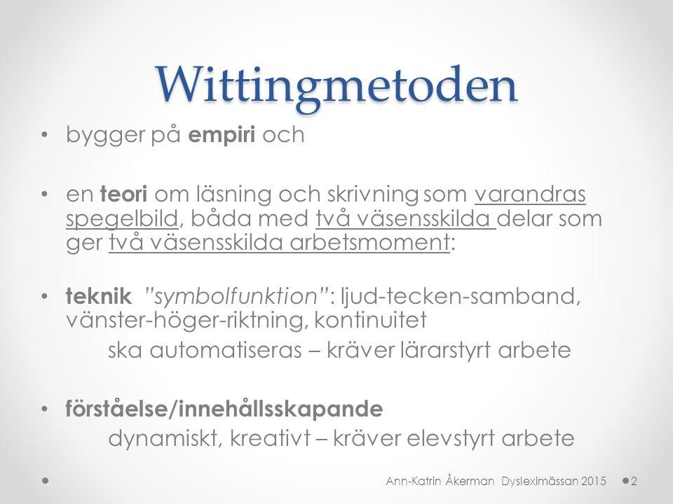 Wittingmetoden bygger på empiri och en teori om läsning och skrivning som varandras spegelbild, båda med två väsensskilda delar som ger två väsensskil