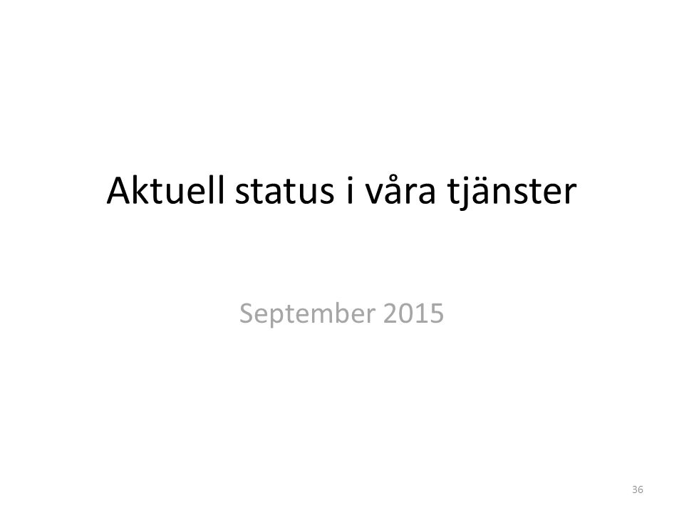 Aktuell status i våra tjänster September 2015 36