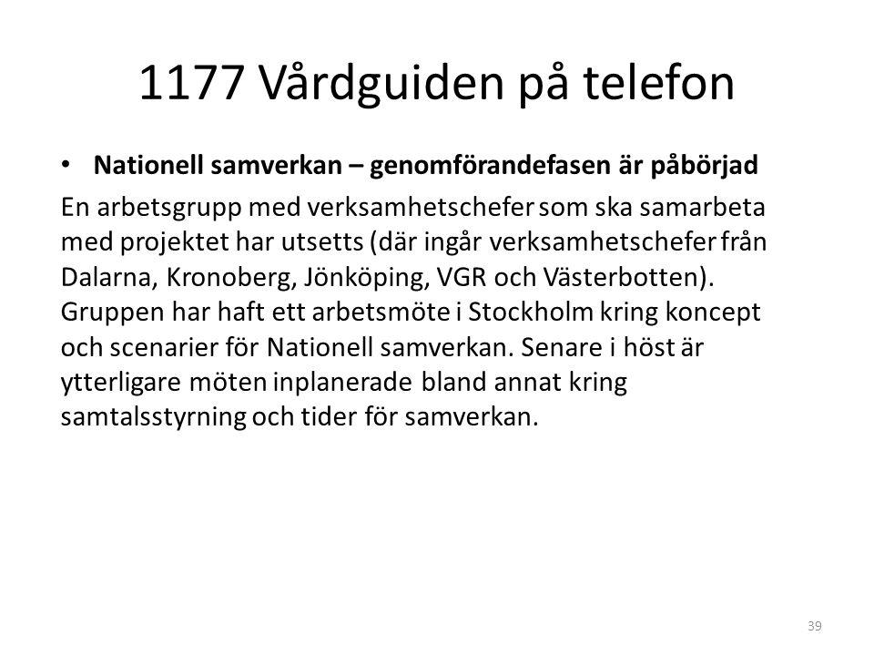 1177 Vårdguiden på telefon 39 Nationell samverkan – genomförandefasen är påbörjad En arbetsgrupp med verksamhetschefer som ska samarbeta med projektet