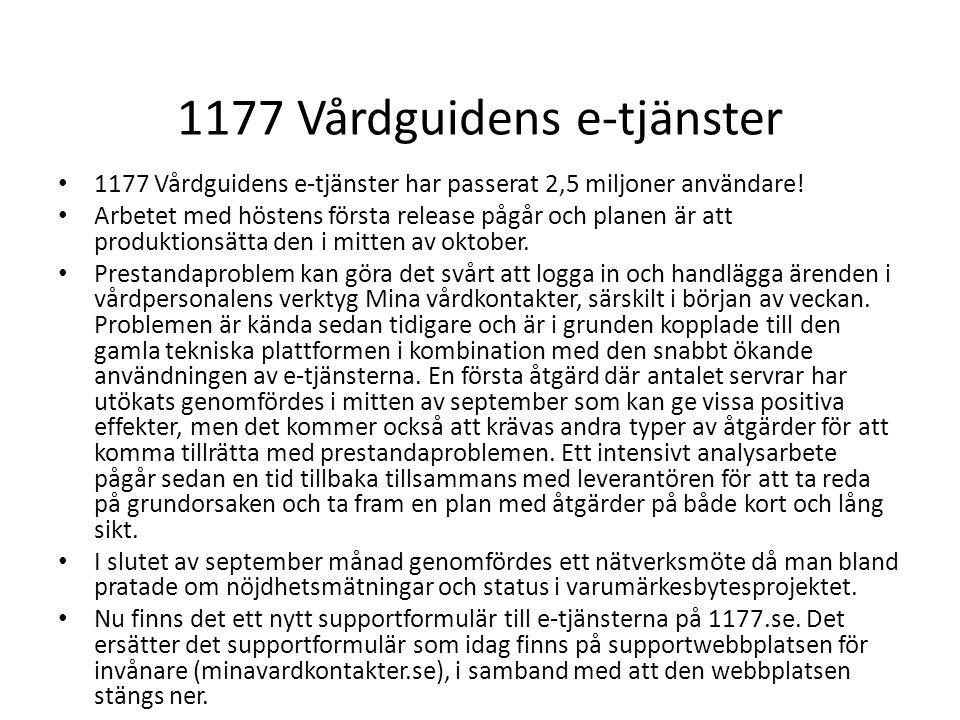 1177 Vårdguidens e-tjänster 1177 Vårdguidens e-tjänster har passerat 2,5 miljoner användare! Arbetet med höstens första release pågår och planen är at