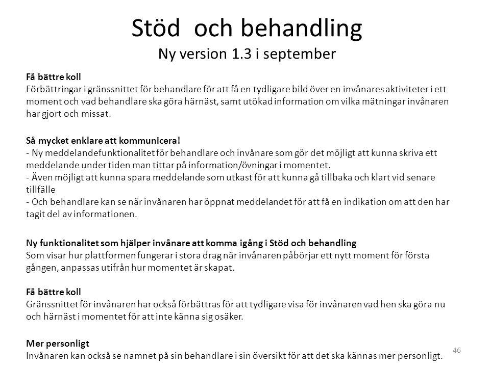 Stöd och behandling Ny version 1.3 i september 46 Få bättre koll Förbättringar i gränssnittet för behandlare för att få en tydligare bild över en invå