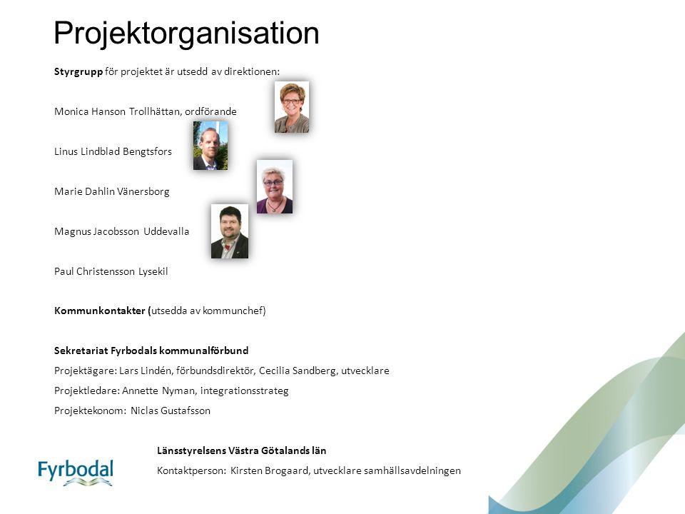 Projektorganisation Styrgrupp för projektet är utsedd av direktionen: Monica Hanson Trollhättan, ordförande Linus Lindblad Bengtsfors Marie Dahlin Vän