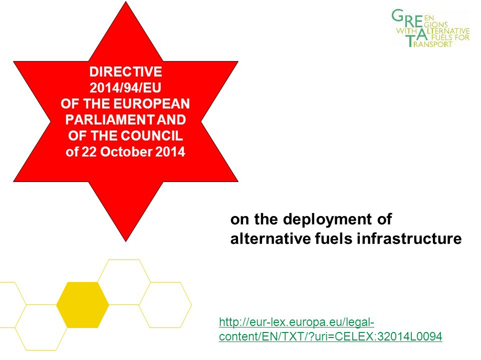 on the deployment of alternative fuels infrastructure DIRECTIVE 2014/94/EU OF THE EUROPEAN PARLIAMENT AND OF THE COUNCIL of 22 October 2014 http://eur