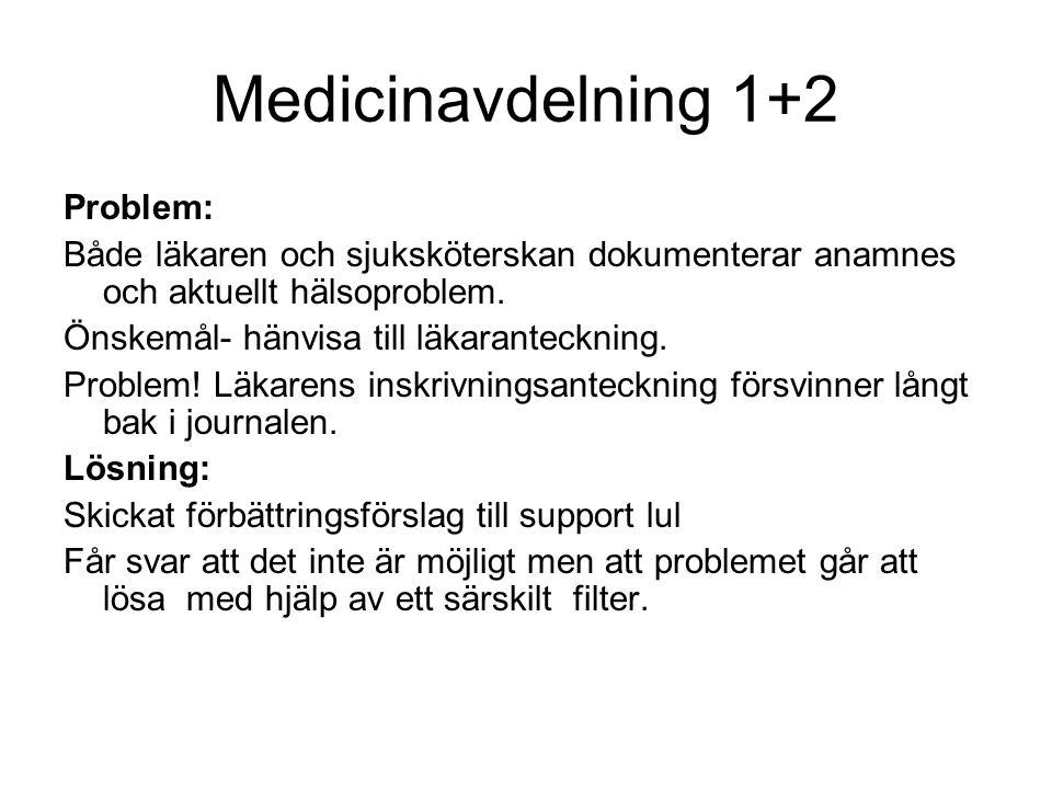 Medicinavdelning 1+2 Problem: Både läkaren och sjuksköterskan dokumenterar anamnes och aktuellt hälsoproblem. Önskemål- hänvisa till läkaranteckning.