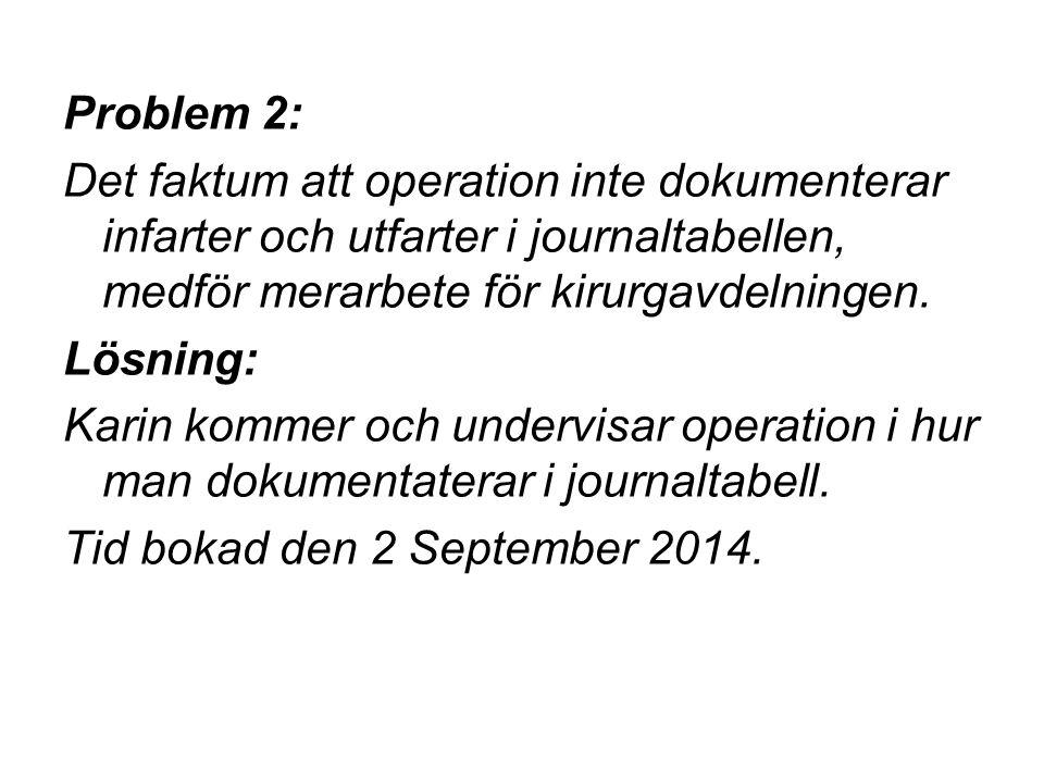 Problem 2: Det faktum att operation inte dokumenterar infarter och utfarter i journaltabellen, medför merarbete för kirurgavdelningen. Lösning: Karin