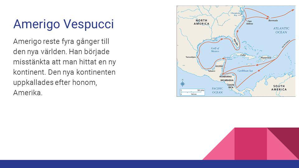 Amerigo Vespucci Amerigo reste fyra gånger till den nya världen. Han började misstänkta att man hittat en ny kontinent. Den nya kontinenten uppkallade