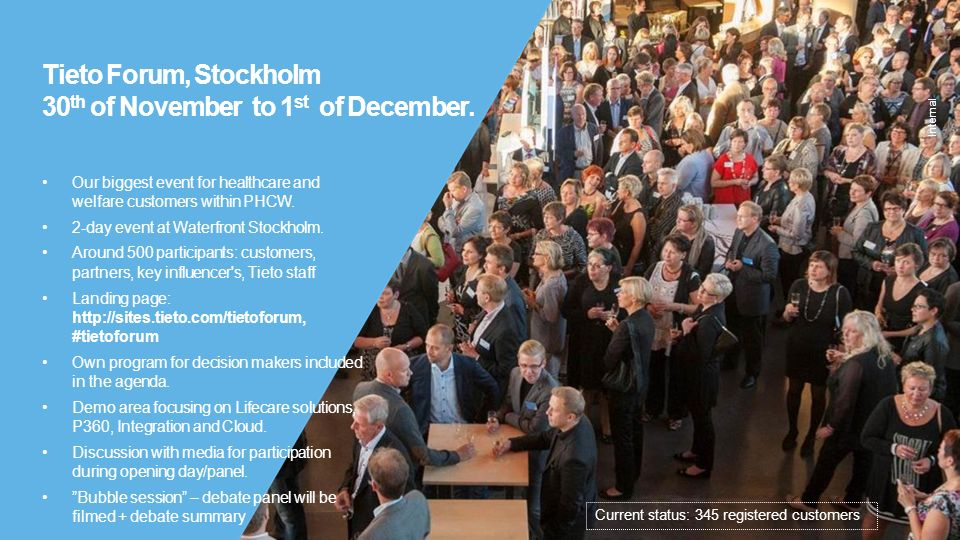Internal Tieto Forum, Stockholm 30 th of November to 1 st of December. Our biggest event for healthcare and welfare customers within PHCW. 2-day event