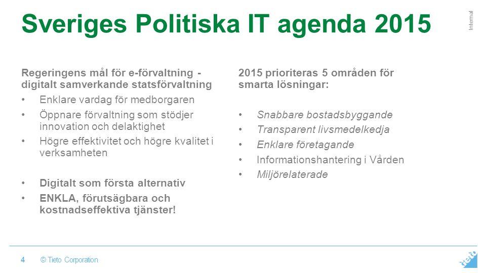 © Tieto Corporation Internal Sveriges Politiska IT agenda 2015 Regeringens mål för e-förvaltning - digitalt samverkande statsförvaltning Enklare vardag för medborgaren Öppnare förvaltning som stödjer innovation och delaktighet Högre effektivitet och högre kvalitet i verksamheten Digitalt som första alternativ ENKLA, förutsägbara och kostnadseffektiva tjänster.