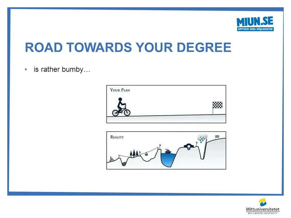 ROAD TOWARDS YOUR DEGREE is rather bumby…