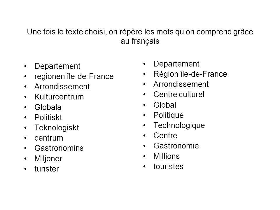 Une fois le texte choisi, on répère les mots qu'on comprend grâce au français Departement regionen île-de-France Arrondissement Kulturcentrum Globala