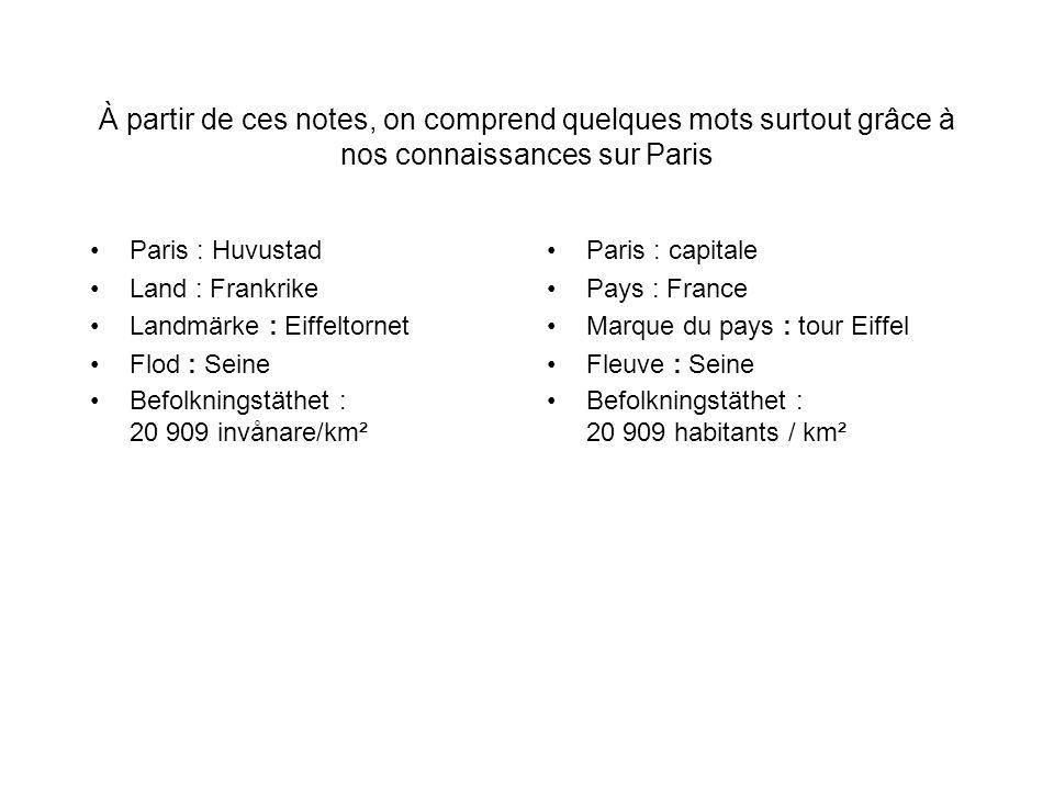 À partir de ces notes, on comprend quelques mots surtout grâce à nos connaissances sur Paris Paris : Huvustad Land : Frankrike Landmärke : Eiffeltorne