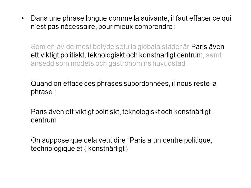 Dans une phrase longue comme la suivante, il faut effacer ce qui n'est pas nécessaire, pour mieux comprendre : Som en av de mest betydelsefulla globala städer är Paris även ett viktigt politiskt, teknologiskt och konstnärligt centrum, samt ansedd som modets och gastronomins huvudstad Quand on efface ces phrases subordonnées, il nous reste la phrase : Paris även ett viktigt politiskt, teknologiskt och konstnärligt centrum On suppose que cela veut dire Paris a un centre politique, technologique et { konstnärligt }