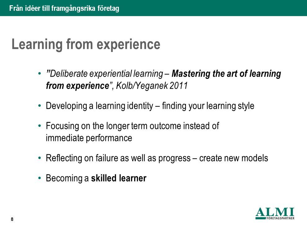 """Från idéer till framgångsrika företag Learning from experience """" Deliberate experiential learning – Mastering the art of learning from experience """", K"""