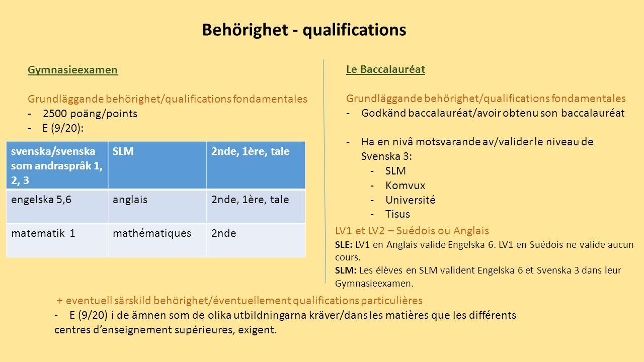 + eventuell särskild behörighet/éventuellement qualifications particulières -E (9/20) i de ämnen som de olika utbildningarna kräver/dans les matières que les différents centres d'enseignement supérieures, exigent.