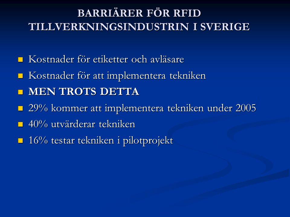 BARRIÄRER FÖR RFID TILLVERKNINGSINDUSTRIN I SVERIGE Kostnader för etiketter och avläsare Kostnader för etiketter och avläsare Kostnader för att implem