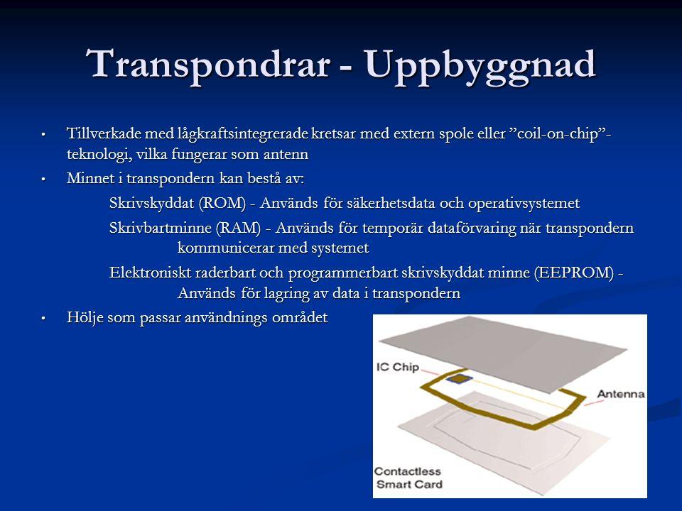 """Transpondrar - Uppbyggnad Tillverkade med lågkraftsintegrerade kretsar med extern spole eller """"coil-on-chip""""- teknologi, vilka fungerar som antenn Til"""