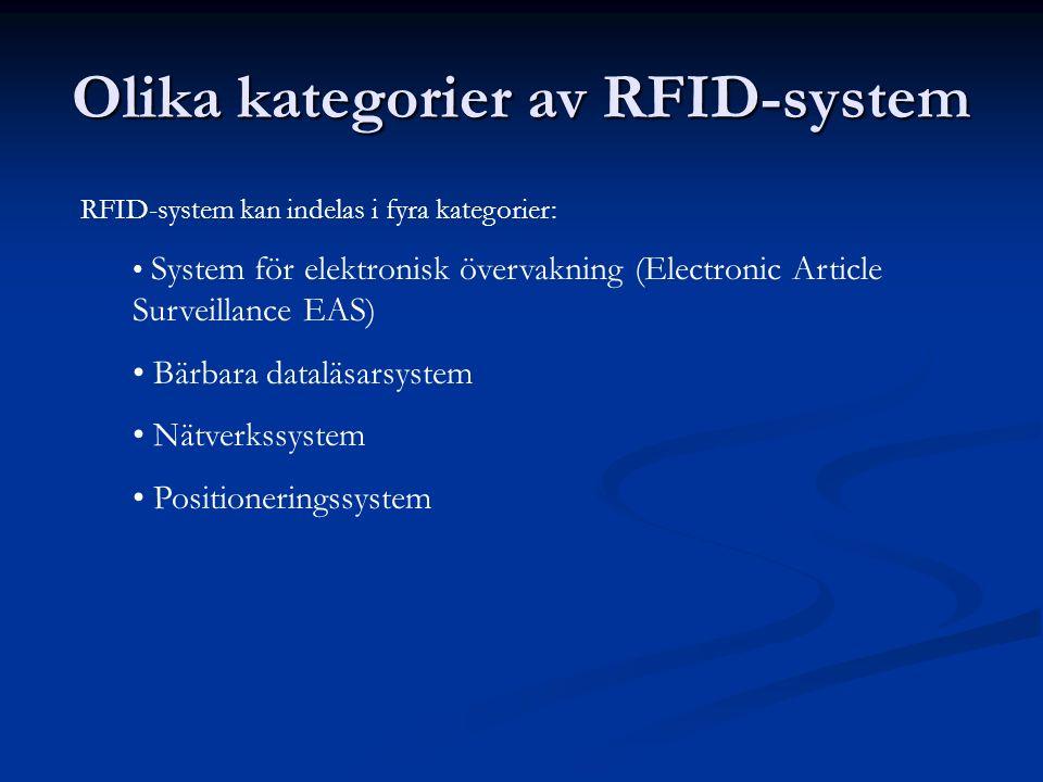 Olika kategorier av RFID-system RFID-system kan indelas i fyra kategorier: System för elektronisk övervakning (Electronic Article Surveillance EAS) Bä