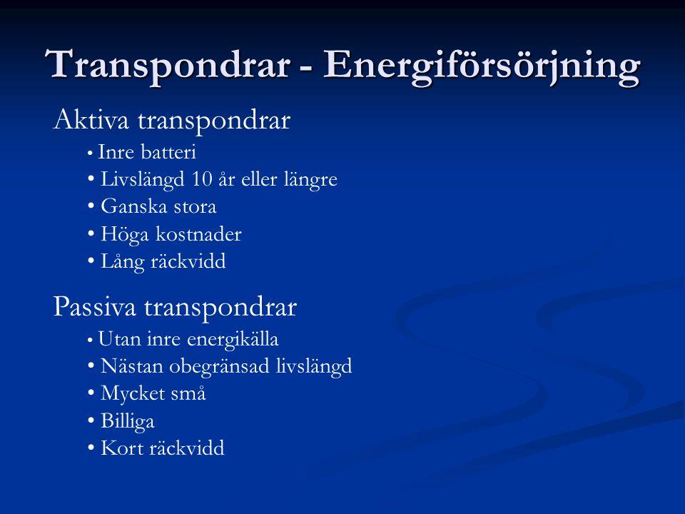 Transpondrar - Energiförsörjning Aktiva transpondrar Inre batteri Livslängd 10 år eller längre Ganska stora Höga kostnader Lång räckvidd Passiva trans