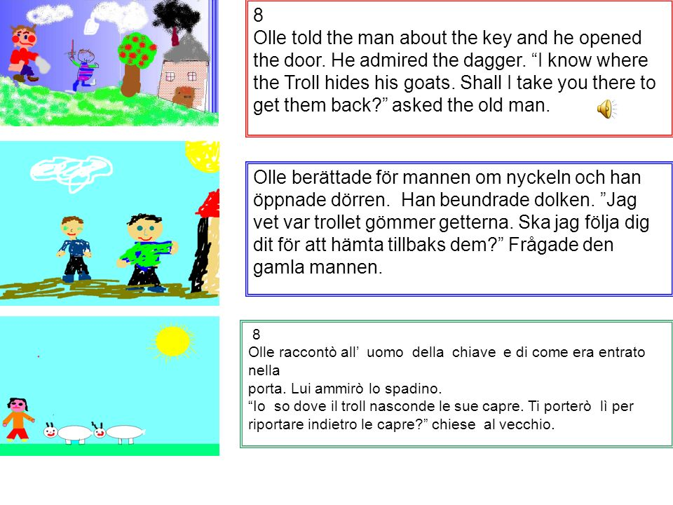 8 Olle told the man about the key and he opened the door.
